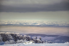 Magische Szene des Winters auf Semenic-Berg Rumänien Stockfotos