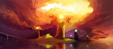 Magische Türme und Drachen Stockfoto