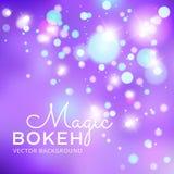 Magische vectorachtergrond met kleurrijke bokeh Stock Afbeelding