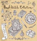 Magische voorwerpen voor Halloween - pentagram, kwaad boek, tarotkaarten vector illustratie