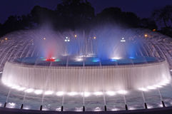 Magische Wasser-Park-Nachtszene Stockfotos