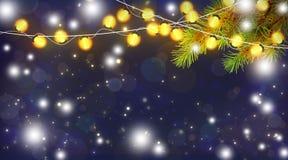 Magische Weihnachtsnacht Feierliche Lichter und Niederlassungen von einem Chr Lizenzfreies Stockbild