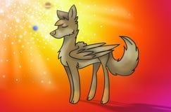 Magische wolf met vleugels Stock Foto's
