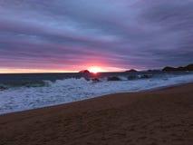 Magische zonsondergang bij Kerstmis Royalty-vrije Stock Fotografie