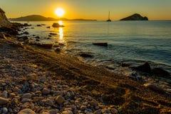 Magische Zonsopgang op Zakythos stock foto's