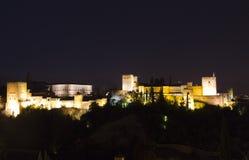 Magischer Alhambra bis zum Nacht Lizenzfreies Stockfoto