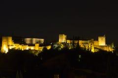 Magischer Alhambra bis zum Nacht Stockbild