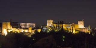 Magischer Alhambra bis zum Nacht Granada, Andalusien, Spanien Stockbild