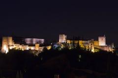 Magischer Alhambra bis zum Nacht Granada, Andalusien, Spanien Stockfotografie