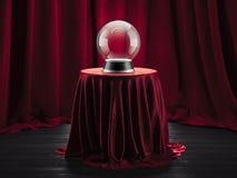 Magischer Ballwahrsager bedeckte auf dem Tisch roten Stoff, Wiedergabe 3d lizenzfreie stockfotografie