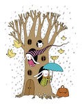 Magischer Baum, Kaninchen und Vögel Stockfotografie