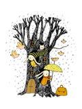 Magischer Baum, Kaninchen und Vögel Stockbild
