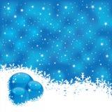 Magischer blauer Hintergrund des Winters mit Scheinen Stockfotografie