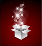 Magischer Geschenkkasten mit einer großen Überraschung stock abbildung