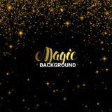 Magischer goldener Lichteffekt Glänzendes Stern-Explosions-Licht mit Goldluxusscheinen Vektorillustration auf schwarzem Hintergru Lizenzfreie Stockbilder