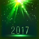 Magischer grüner Weihnachtshintergrund mit Spitzenlicht und 2017 Vektor Lizenzfreie Stockfotos