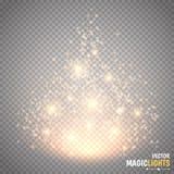 Magischer heller Vektoreffekt Glühenspezialeffektlicht, -aufflackern, -stern und -explosion lokalisierten Funken