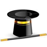 Magischer Hut mit Stab vektor abbildung