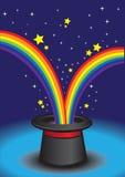 Magischer Hut mit Sternen und Regenbogen. Stockbild