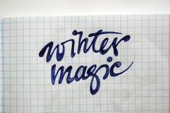 Magischer kalligraphischer Hintergrund des Winters Stockfoto