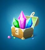 Magischer Kasten mit Edelsteinkristallen Stockbild