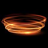 Magischer Kreis des Vektors Gold Glühender Feuerring Funkelnscheinstrudel Lizenzfreies Stockbild