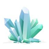 Magischer Kristall Amethyst, Topas, Blauquarz, karminroter grüner Edelstein Spielschatzelement stock abbildung