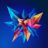 Magischer Kristall Kristallasteroid Abstrakte geometrische Zahl im Weltraum Abstraktes facettiertes geometrisches des Kristalles  Stockbilder