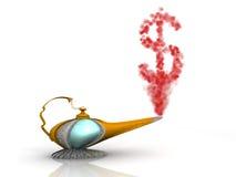 Magischer Lampen-Dollar Stockfoto