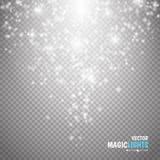 Magischer Lichteffekt Glühenspezialeffektlicht, -aufflackern, -stern und -explosion funken Lizenzfreies Stockfoto