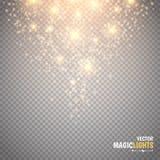 Magischer Lichteffekt Glühenspezialeffektlicht, -aufflackern, -stern und -explosion funken Stockbilder