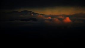 Magischer Mammutbaum-Sonnenuntergang in den hohen Sierra von Kalifornien lizenzfreie stockfotografie