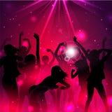 Magischer Musik-Hintergrund mit Schattenbildern von Tänzerinnen - Vektor Lizenzfreie Stockfotografie