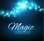 Magischer Raum Feenhafte Staub-Unendlichkeit Abstrakter Universumhintergrund Blauer Hintergrund und glänzende Sterne Stockfotos