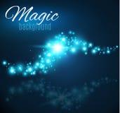 Magischer Raum Feenhafte Staub-Unendlichkeit Abstrakter Universumhintergrund Blauer Hintergrund und glänzende Sterne Stockbild