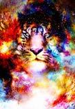 Magischer Raumtiger, Mehrfarbencomputergrafikcollage lizenzfreie abbildung