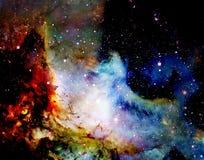 Magischer Raumwolf, Mehrfarbencomputergrafikcollage stock abbildung