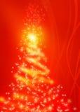 Magischer roter Weihnachtsbaum Stockfoto