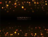 Magischer Schein, Gold punktiert auf dunklem Hintergrund Stockfotografie