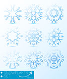 Magischer Schneeflockenwintersatz für Design Stockfotografie