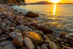 Magischer Sonnenaufgang auf Zakythos lizenzfreie stockfotografie