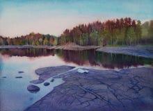 Magischer Sonnenuntergang auf der Insel von Valaam Lizenzfreies Stockbild