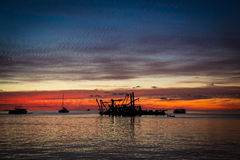Magischer Sonnenuntergang auf Malediven Lizenzfreies Stockbild
