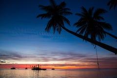 Magischer Sonnenuntergang auf Malediven Stockbild