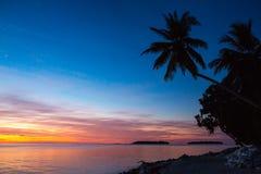 Magischer Sonnenuntergang auf Malediven Lizenzfreies Stockfoto