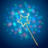 Magischer Stab auf blauem Hintergrund lizenzfreie abbildung