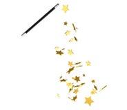 Magischer Stab, der glänzende goldene Sterne wirft Stockfoto