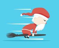Magischer Stab Weihnachtsmann-Charakters und Ikonenkarikatur, Vektorillustration Lizenzfreie Stockbilder
