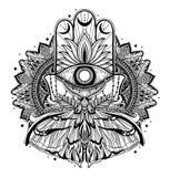 Magischer Talismanreligion Asiat r Schmetterlingsmotten-Mandalaillustration lizenzfreie abbildung