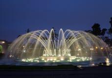 Magischer Wasser-Kreisläuf im Vorbehalt-Park Lima Peru Lizenzfreies Stockfoto